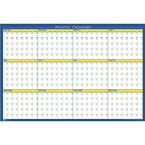"House of Doolittle 12-Month Laminated Wall Planner, 36"" x 24"""