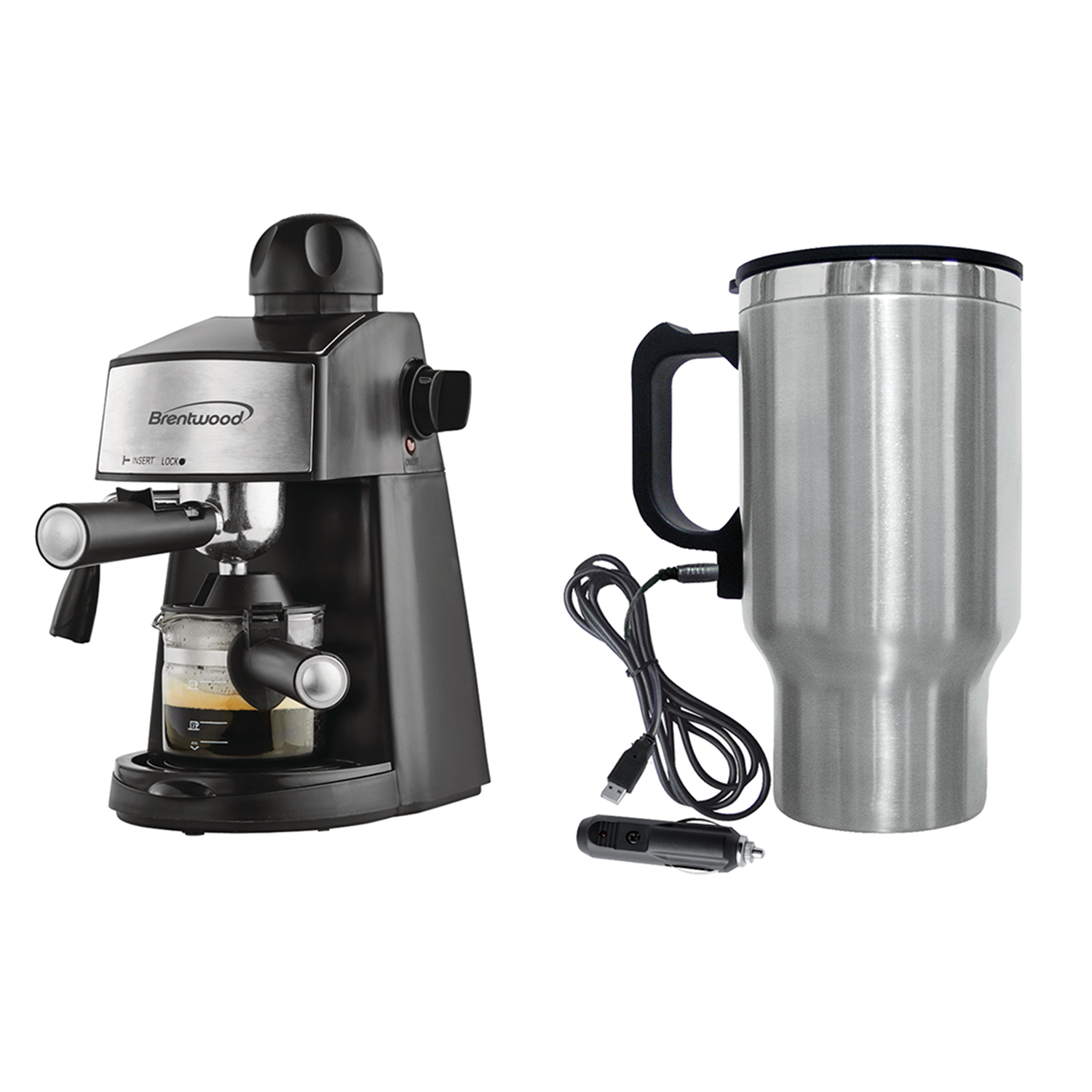 Brentwood Appliances GA-125 20-Ounce Espresso & Cappuccino Maker and CMB-16C 16-Ounce Stainless Steel Heated Travel Mug with 12-Volt Car Adapter Bundle