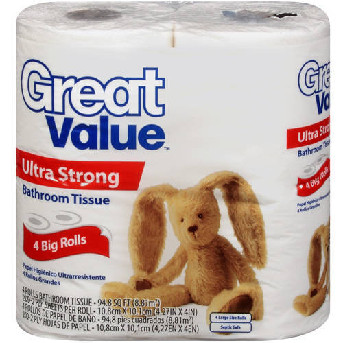Great Value Ultra Strong Bathroom Tissue, 4 rolls
