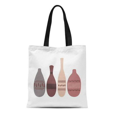 SIDONKU Canvas Tote Bag Ceramic Pottery Jugs Artisan Craftsman Bisque Jar Bottle Reusable Handbag Shoulder Grocery Shopping Bags