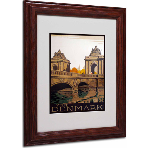 "Trademark Fine Art ""Denmark"" Matted Framed Art by Vintage Apple Collection, Wood Frame"