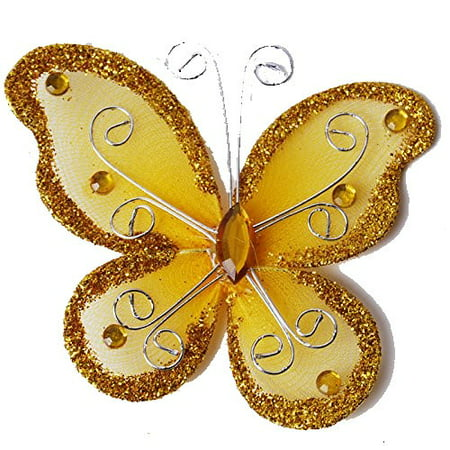 12 Pcs Gold Organza Tulle Wire Butterfly Butterflies Wedding Arts Crafts 2