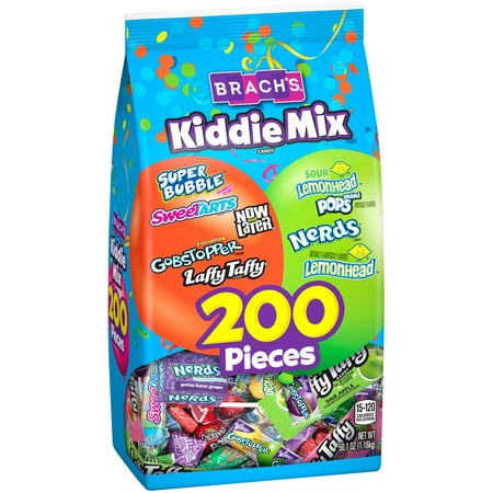 Brach's Kiddie Mix Super Bubble, SweeTARTS, Now & Later, Gobstopper, Laffy Taffy, Lemonhead & Nerds Candy Variety Pack, 200 Count