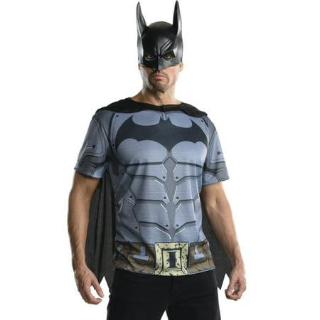Adult Mens Batman DC Comics Dark Knight T-shirt Cape Mask Costume Top (Batman Adult Cape)