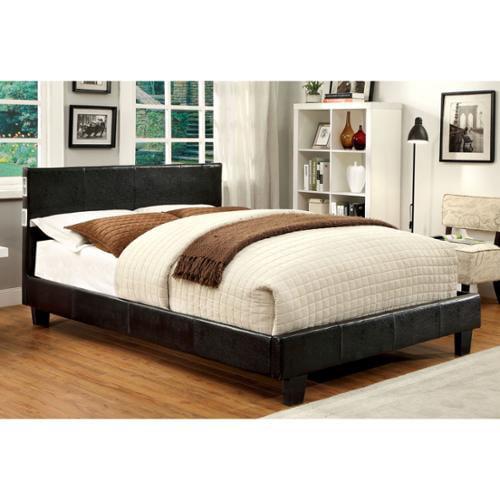 Furniture of America Britney Modern Espresso King-size Leatherette Platform Bed with Bluetooth Speaker Eastern King