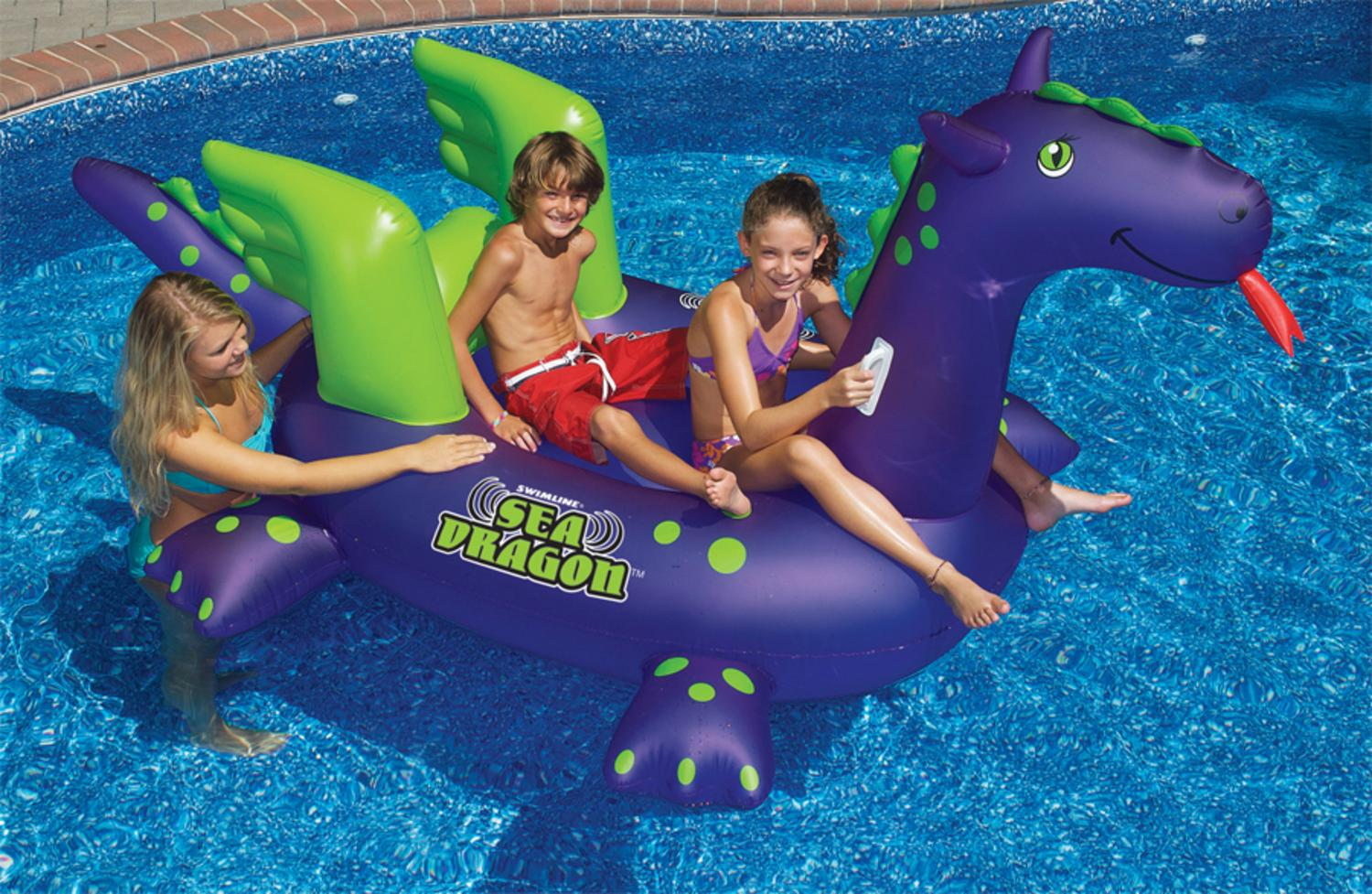 """89"""" Water Sports Inflatable Sea Dragon Swimming Pool Ride On Float Toy by Swim Central"""
