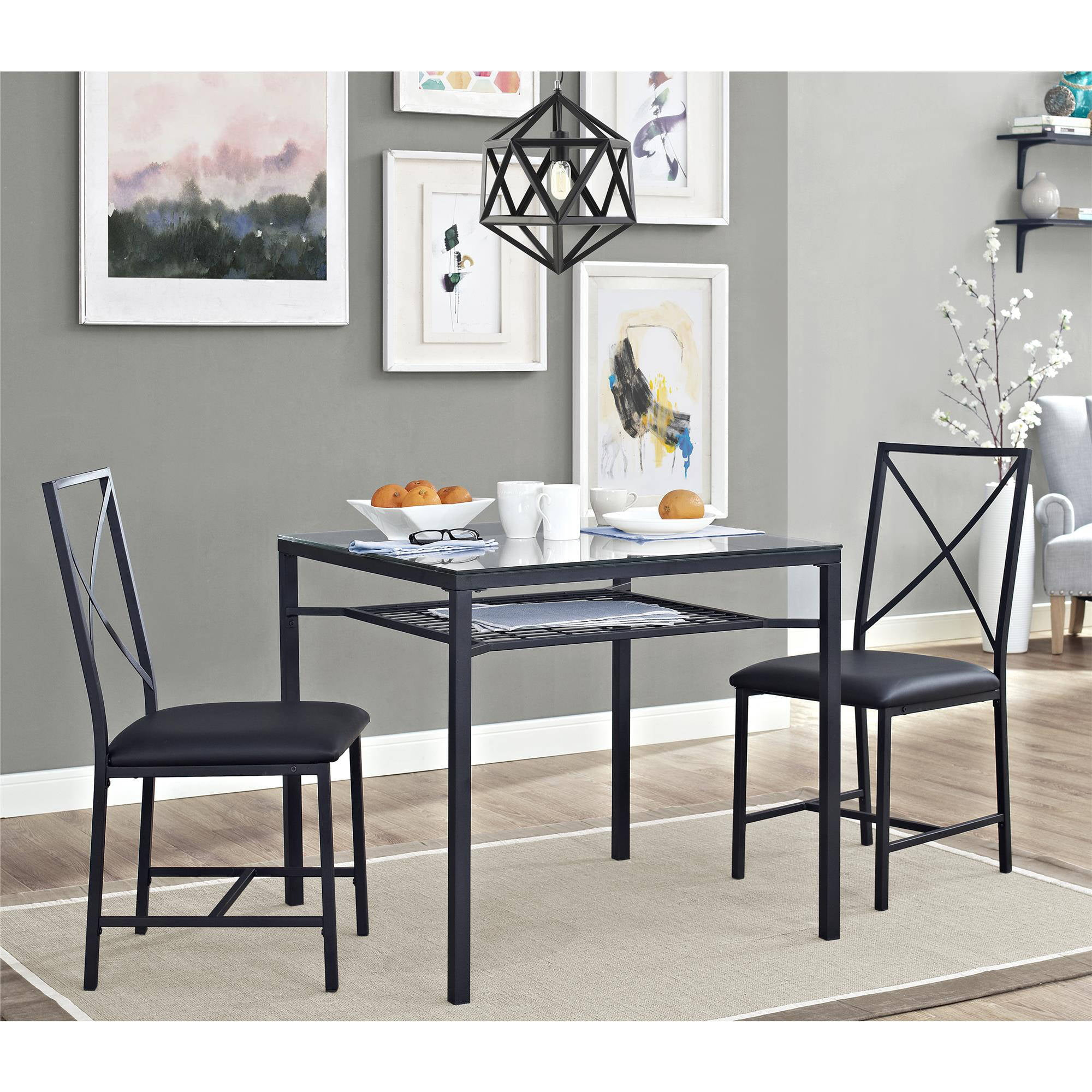 Glass Kitchen Table Sets Mainstays 3 piece metal and glass dinette black walmart workwithnaturefo