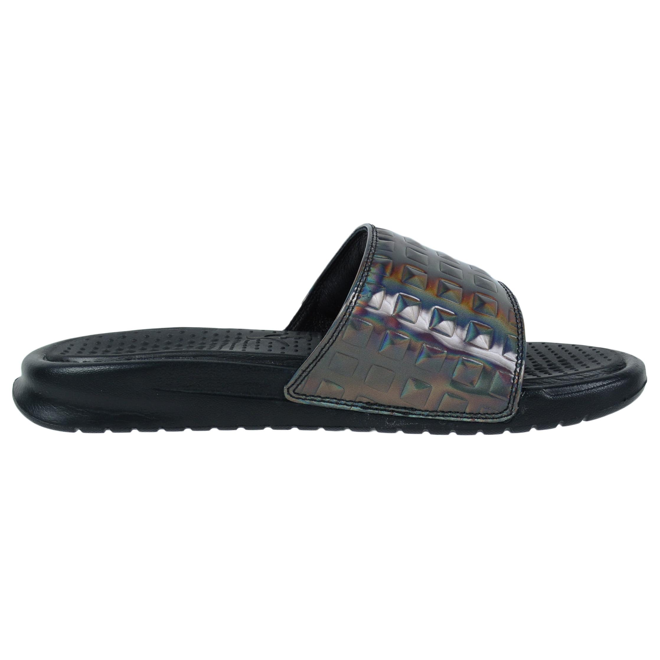 Womens Nike Benassi JDI Ultra Premium Black Silver 818737-003 - Walmart.com