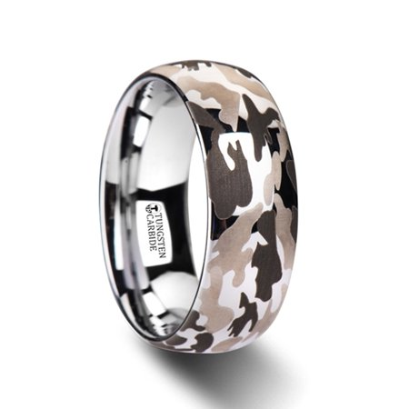 Battalion Domed Tungsten Carbide Ring With Laser Engraved Camo Pattern  10mm