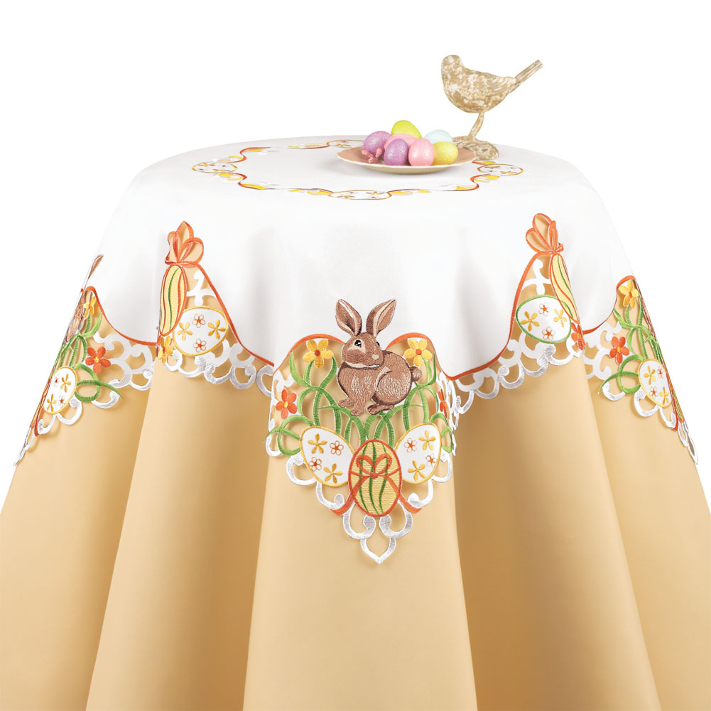 Easter Bunny And Eggs Table Linens, Square, Multi by Collections Etc