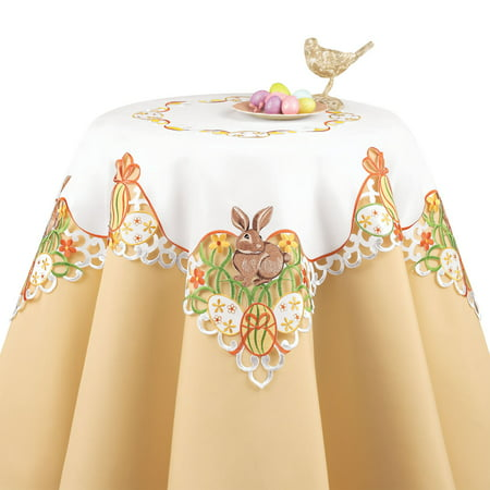 Easter Bunny and Eggs Table Linen with Embroidered Edges and White Base Color - Colorful Flowers and Bows Accents to Decorate Easter Table, Square, Multi - Easter Tableware