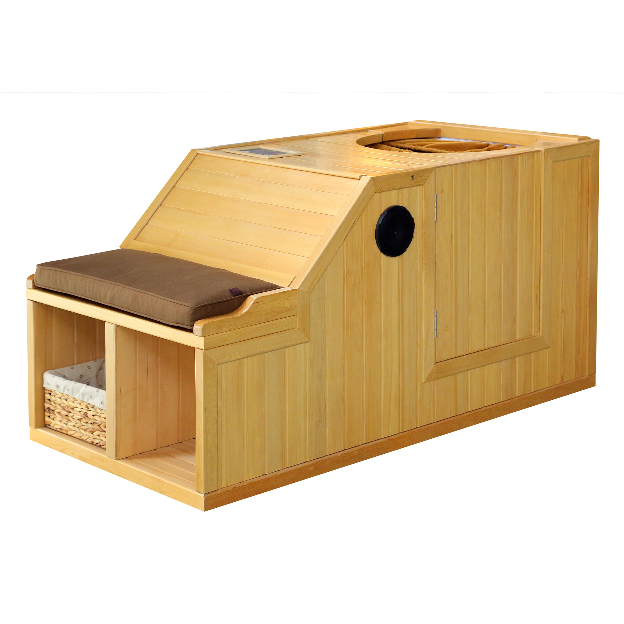 Radiant Saunas Serenity Personal Half Sauna with FAR Infrared Carbon Heaters, Audio System, Solid Canadian Hemlock