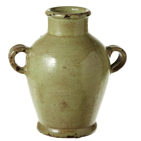 Green Rustic Vases - CBK Terracotta Short Rustic Green Vase With Handles 150476