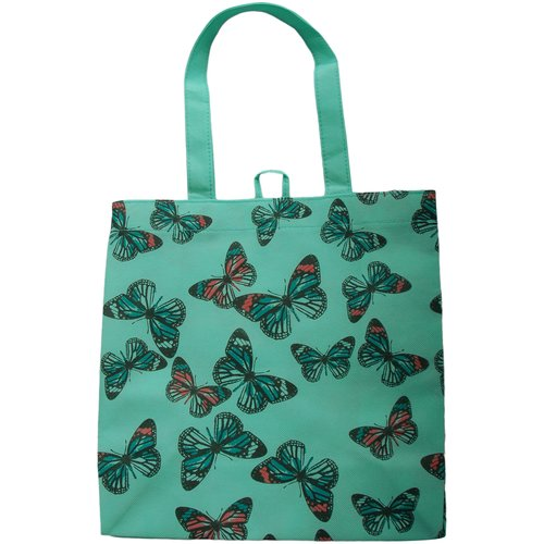 Tote Bag, Green with Butterfly Print