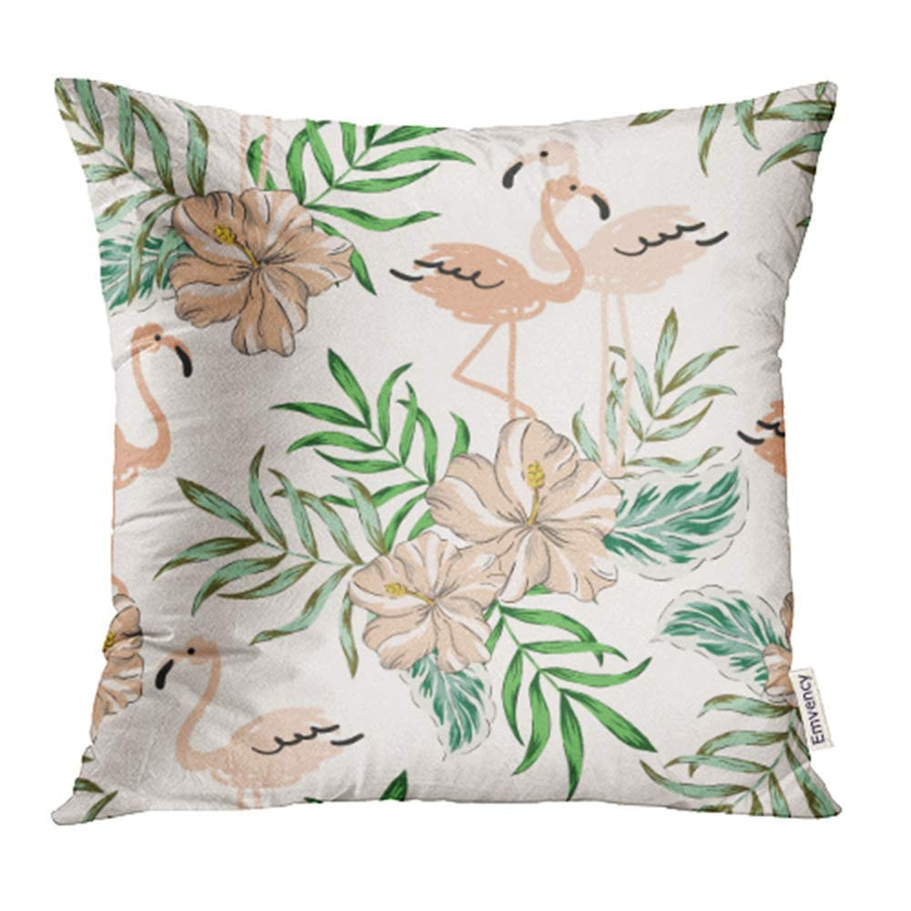 ARHOME Tropical Blush Pink Flamingo Birds Hibiscus Flowers Bouquets Palm Leaves Jungle Pillowcase Cushion Cases 20x20 inch