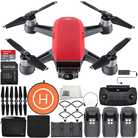 DJI Spark Portable Mini Drone Quadcopter Fly More Combo Landing Pad Ultimate Bundle (Lava Red)