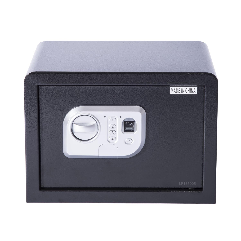 "HomCom 14"" Fingerprint Digital Electronic Gun Safe Box w  Keypad Lock Security Black by Aosom"