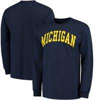 Michigan Wolverines Basic Arch Long Sleeve T-Shirt - Navy
