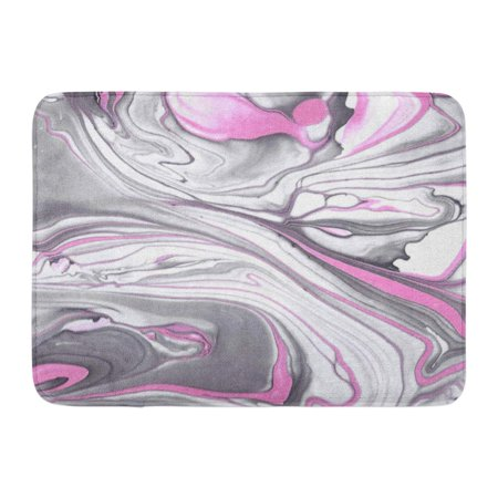 Rosa Marble - SIDONKU Gray Painting Abstract Ink Marble Black and Pink in Water Rose Artistic Doormat Floor Rug Bath Mat 23.6x15.7 inch
