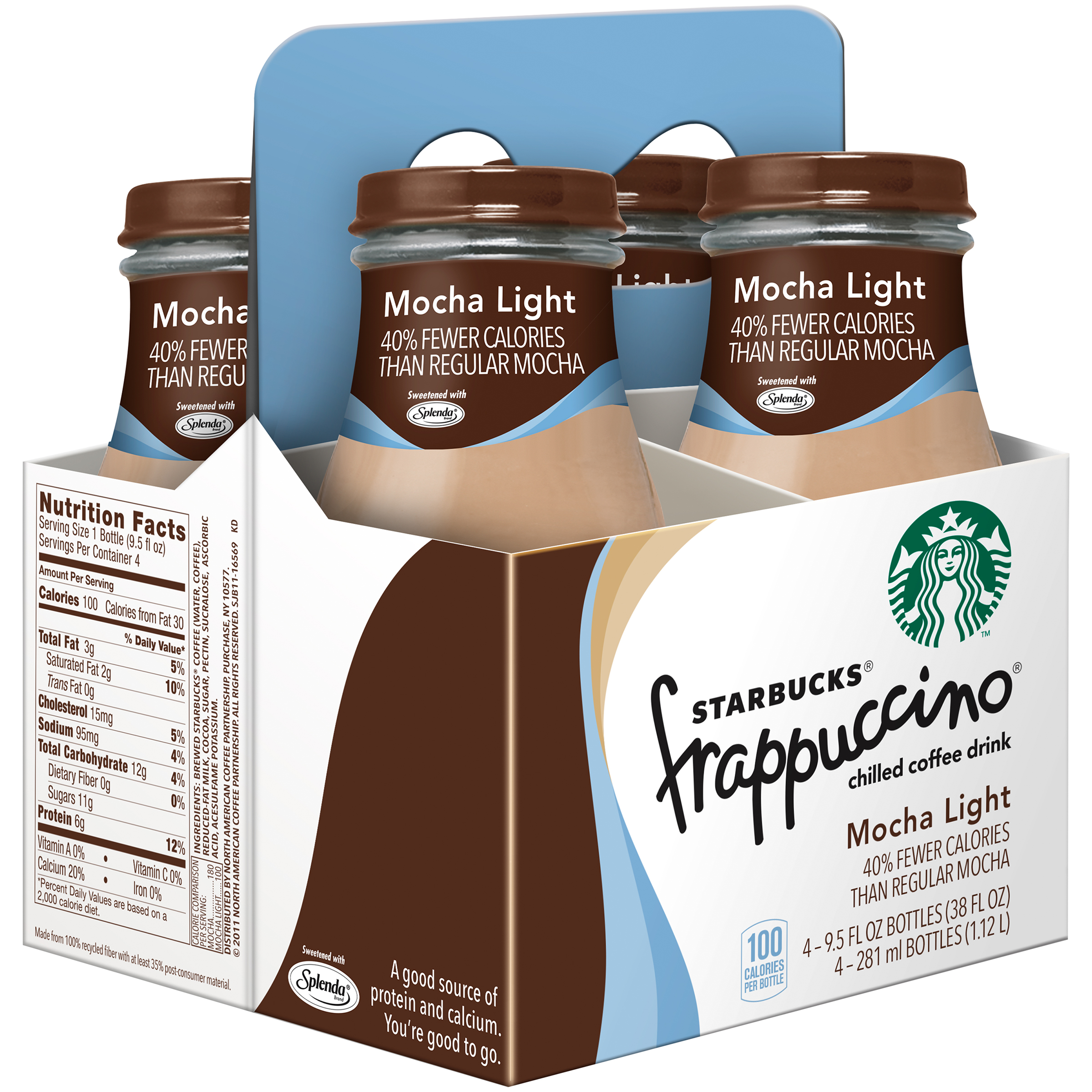 Starbucks Frappuccino Chilled Coffee Drink, Mocha Light, 9.5 Fl Oz, 4 Count