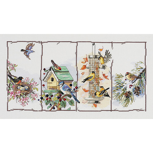 "Janlynn Four Seasons Birds Counted Cross Stitch Kit, 18"" x 10"", 14 Count"