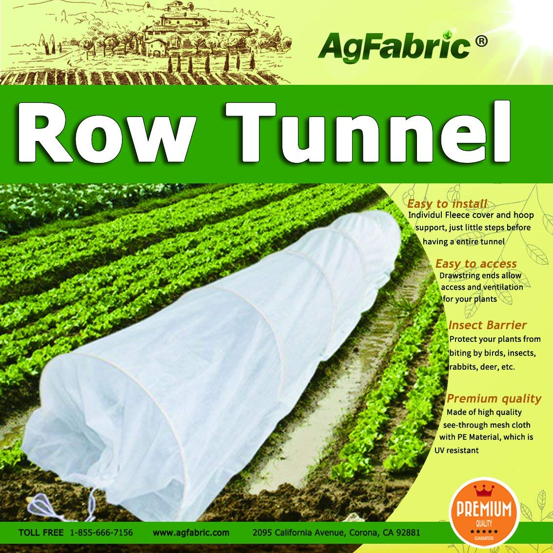 Agfabric Hoop House Kit, Mini Greenhouse Grow Tunnel, Floating Row Cover with Support Hoops, Plant Cover&Frost Blanket for Seed Germination & Frost Protection(20ft Long)