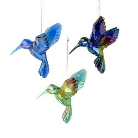 Acrylic Hummingbird Christmas Tree Ornaments, Blue, 3-Inch, (Bird Seed Christmas Ornaments)