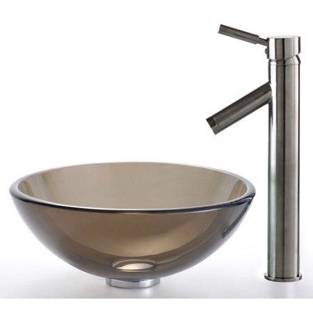 Brown Glass Vessel Sink : Kraus Clear Brown Glass Vessel Sink and Sheven Faucet - Walmart.com