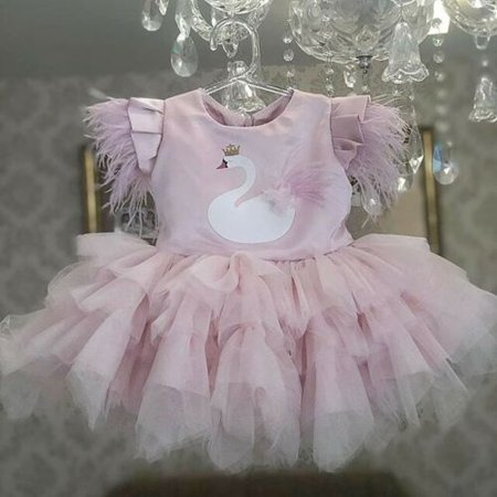 Toddler Kid Baby Girls Swan Party Pageant Princess Bridesmaid Gown Fashion