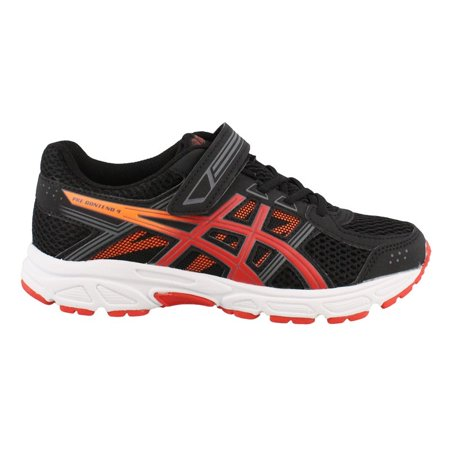 Boy's Asics, Gel Contend 4 GS Running Sneakers BLACK / RED 11 M Black Red Sneakers Shoes