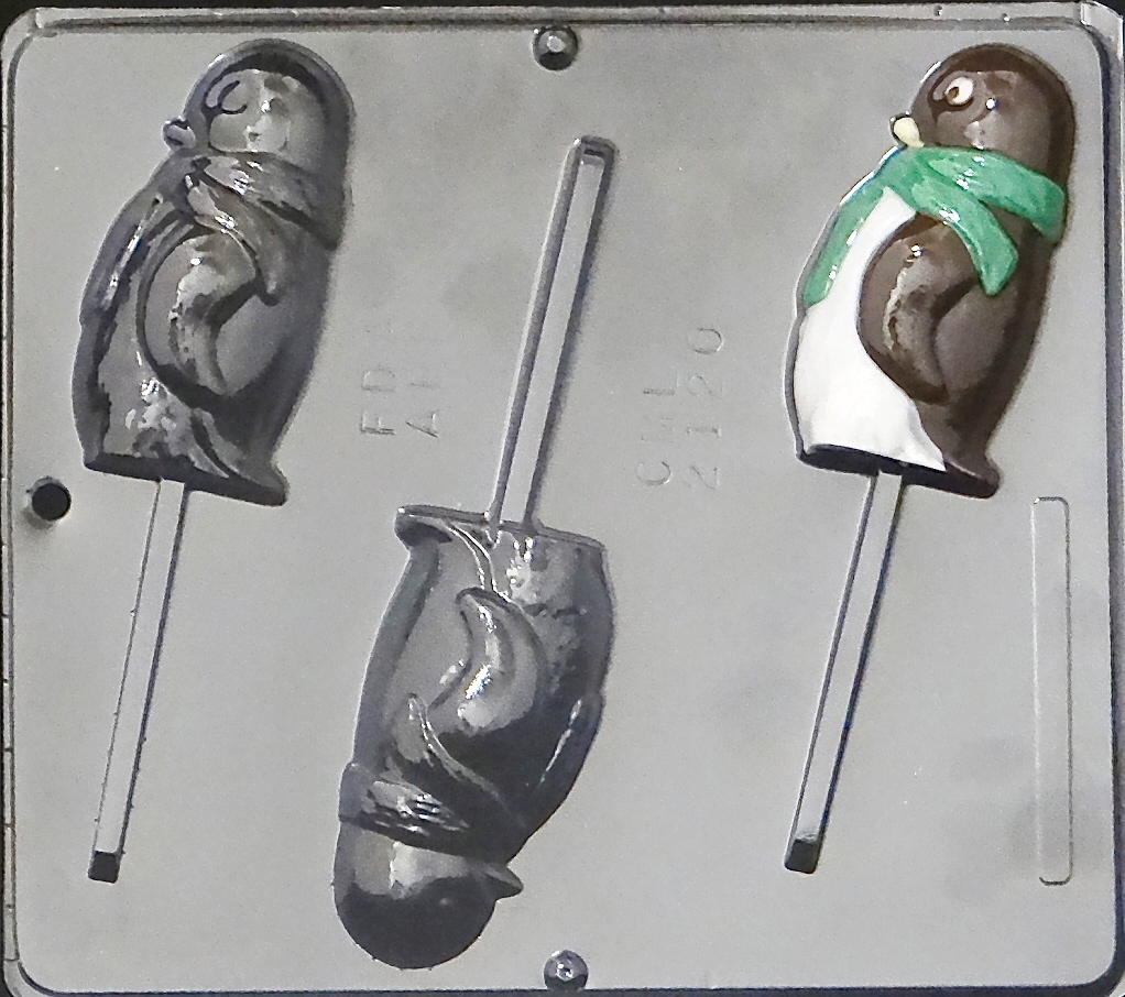 2120 Penguin Lollipop Chocolate Candy Mold by