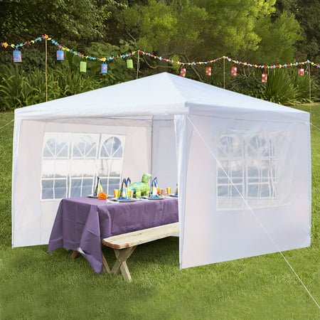 Gazebo Tent, 10' x 10' Outdoor Party Tent with 3 Side Walls, Heavy Duty Outdoor Party Wedding Tent for Outside, Portable Sunshade Folding Patio Canopy Tent, Waterproof Outdoor Gazebo Tent, I7406