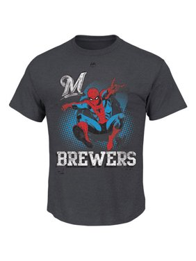 0117455dc30e7 Product Image Men s Majestic Charcoal Milwaukee Brewers Marvel Spiderman  T-Shirt