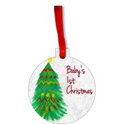 New Baby - Baby's First Christmas Ornament Watercolor Christmas Tree Round Shaped Flat Hardboard Christmas Ornament Tree Decoration - Unique Modern Novelty Tree Décor Favors