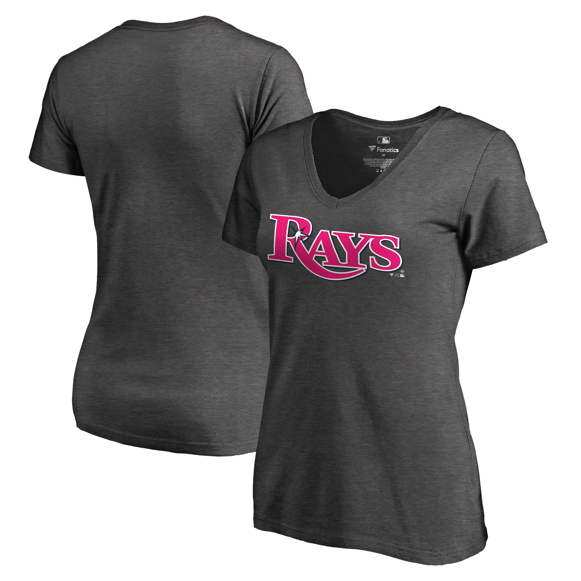 Tampa Bay Rays Fanatics Branded Women's 2018 Mother's Day Pink Wordmark V-Neck T-Shirt - Heather Gray