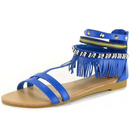 Alpine Swiss Womens Fringe Sandals Beaded & Studded Strappy Gladiator Ankle Flat - Sandals Beaded