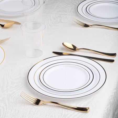 Kaya Collection - White and Gold Disposable Plastic Dinnerware Party Package - Includes Dinner Plates, Salad/Dessert Plates, Gold Cutlery, Tumblers (120 Person Package)