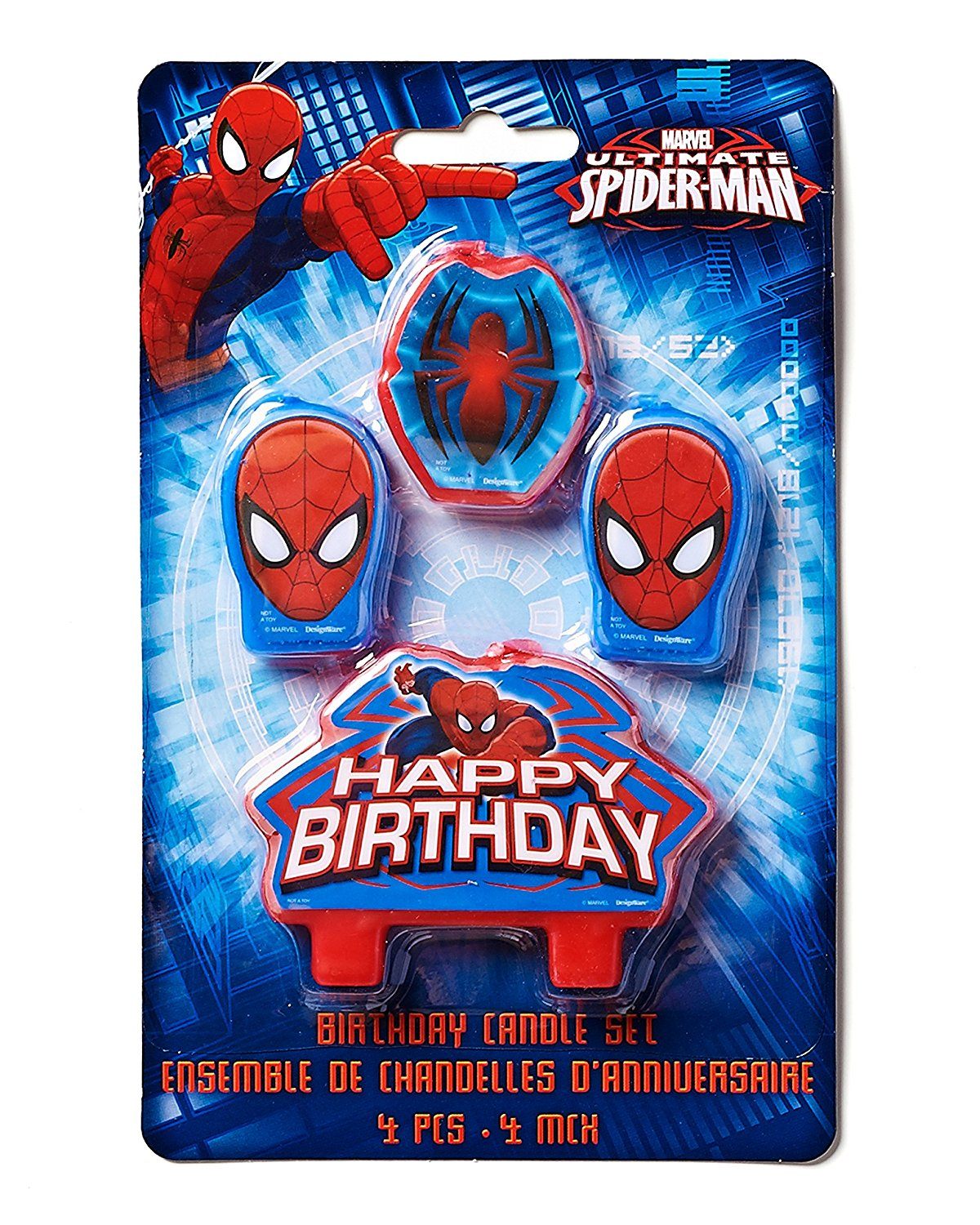 Spider Man Birthday Party Cake Candle Set 1 3 4ct