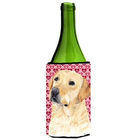 Labrador Yellow Hearts Love Valentines Day Wine bottle sleeve Hugger - image 1 of 1