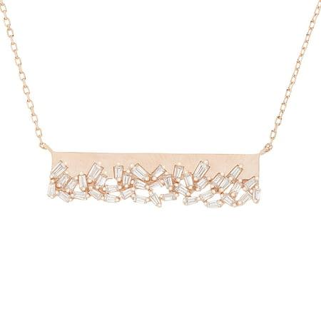 Cubic Zirconia Baguette Bar Necklace in Rose Gold over Sterling Silver Baguette Cubic Zirconia Cross Pendant