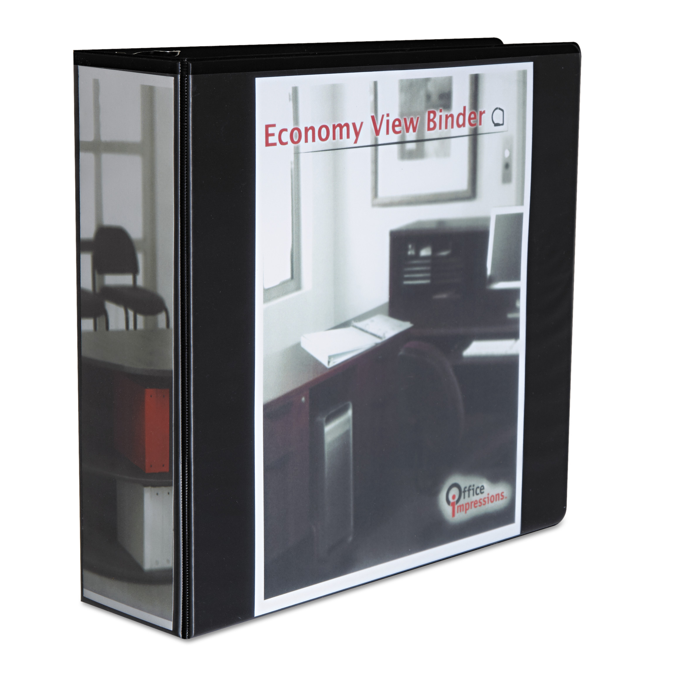 "Office Impressions Economy Slant-Ring View Binder, 3"" Capacity, Black"