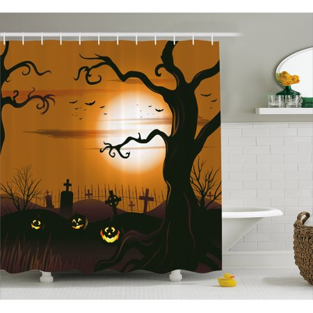 Halloween Shower Curtain, Leafless Creepy Tree with Twiggy Branches at Night in Cemetery Graphic Drawing, Fabric Bathroom Set with Hooks, Brown Tan, by Ambesonne - Halloween Cemetery Drawings
