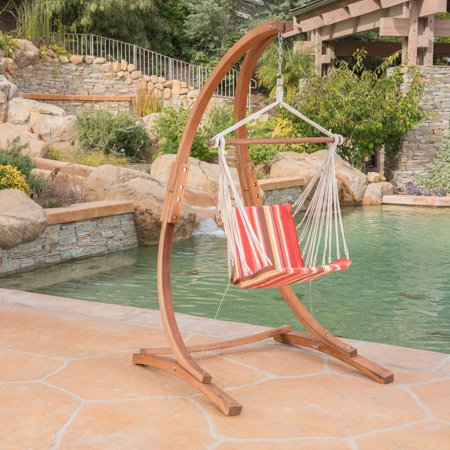 Peachy Galway Outdoor Teak Larch Wood Hammock Chair With Stand Short Links Chair Design For Home Short Linksinfo