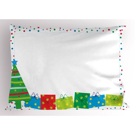 kids party pillow sham happy christmas and new year theme pine tree surprise boxes border with