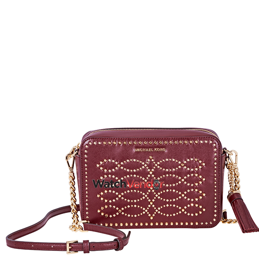 85729c7a4a Michael Kors Ginny Medium Studded Leather Crossbody- Oxblood