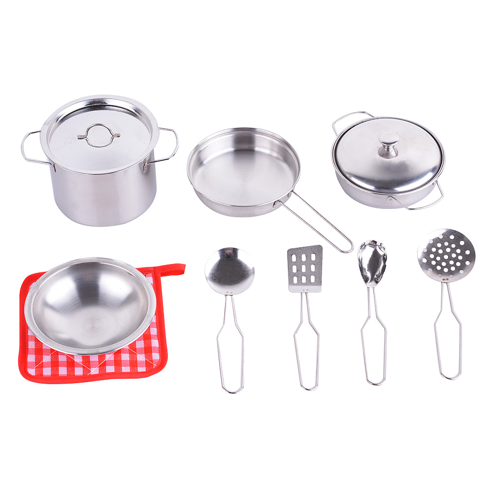 OUTOP Metal Pots and Pans Kitchen Cookware Playset for Kids with Cooking