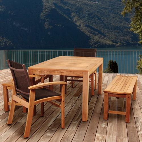 Amazonia Teak  Trento 5-piece Teak Rectangular Patio Dining Set with Brown Textile Sling