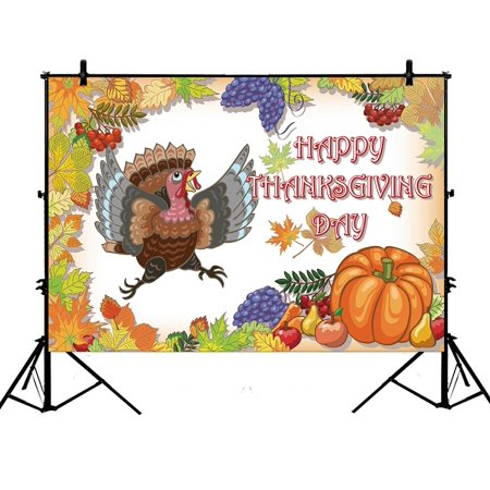 PHFZK 7x5ft Harvest Backdrops, Happy Thanksgiving Turkey with Pumpkin Photography Backdrops Polyester Photo Background Studio Props (Thanksgiving Backdrop)