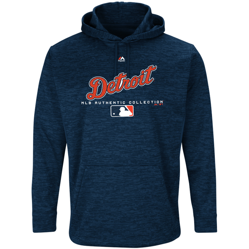 Detroit Tigers Majestic Authentic Collection Team Drive Ultra-Streak Pullover Hoodie - Navy