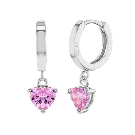 - 925 Sterling Silver Small Hoop Heart Dangle Earrings CZ for Girls Teens